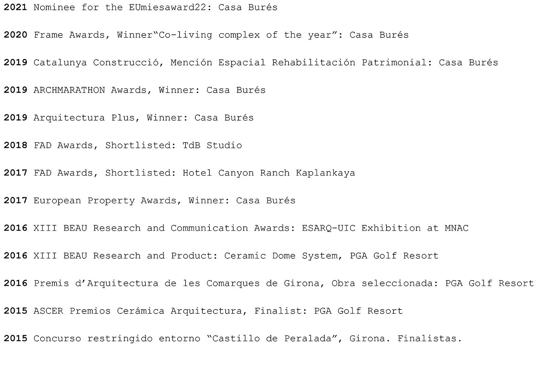 TdB Arquitectura premios awards
